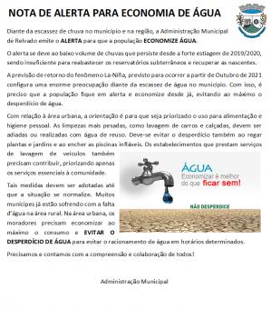 NOTA DE ALERTA PARA ECONOMIA DE ÁGUA